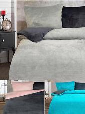 Warme Plüsch Bettwäsche 135x200 UNI Wendebettwäsche Garnitur Set Reißverschluss