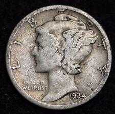 1934-D MERCURY DIME / CIRCULATED GRADE GOOD / VERY GOOD 90% SILVER COIN