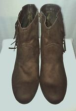Sz 11 Cato Chocolate Brown Suede Look Ankle Boots w/Fringe - NEW