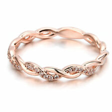 Fashion Women 14K Solid Rose Gold Stack Twisted Ring Wedding Valentine's Gift