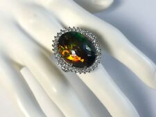 Huge 12.29 ct.  Black Opal with Diamonds in 14K White Gold Ring Size 8 (Sizable)