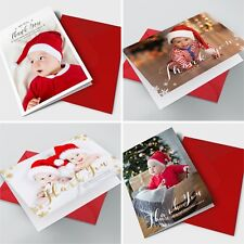 Personalised Pack of Christmas Thank You Cards Photo + Envelopes Folded