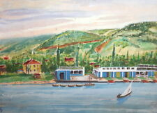 1969 WC PAINTING RIVER LANDSCAPE SIGNED
