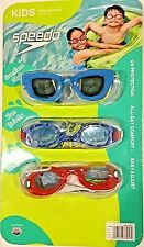 Speedo Kids Swim Goggles, Sunglass Style, Fun Prints, Comfy Bungee. 3pc Set