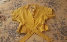 Vintage Trina Turk kimono sleeve belted jacket blazer Yellow Sz 6 anthropologie
