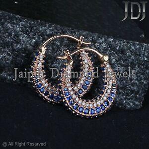 Blue Sapphire Gemstone Solid 14k Rose Gold Huggie Hoop Earrings Diamond Jewelry