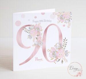 90th Birthday Card - Personalised Nanna, Grandma, Friend, Milestone