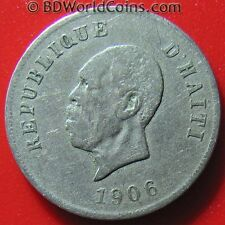 1906 HAITI 10 CENTIMES PRESIDENT NORD ALEXIS COLLECTABLE WORLD COIN  Cu-Ni 23mm