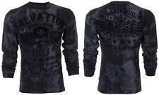 Archaic Affliction Men L/S T-Shirt BLACK TIDE Skull BLACK Tattoo Biker S-3XL $58