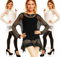 WOMEN'S LAYERED LOOK TUNIC TOP APPLIQUE LACE NECK BLACK OR WHITE SIZE 10 12 14
