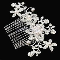 Elegant Headpiece Wedding Flower White Pearl Hair Comb Crystal Silver Plated