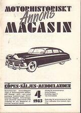 Motorhistoriskt Magasin Annons Swedish Car Magazine 4 1985 Vita 32717nonDBE