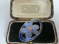 VINTAGE SIGNED 22CT GOLD PLATED CLOISONNE ENAMEL FLORAL LILLY BROOCH PIN