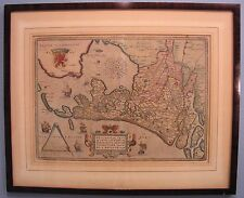 Framed Authentic 1598 Abraham Ortelius Antique Map of Holland - Hollandia