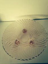 Pink Depression glass swirl footed bowl