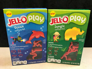 Kraft JELL-O Jungle Ocean Plastic 8 Mold Cookie Cutter Play Sets Gelatin Mix NOS