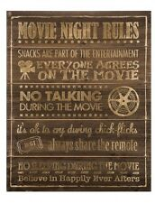 MOVIE NIGHT RULES  Home Theater Recreation TV Room Theater Wooden Wall Decor
