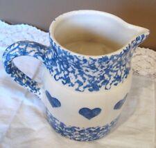 "ROSEVILLE FRIENDSHIP POTTERY PITCHER: Blue Spongeware & Blue Hearts 5-1/4"" Tall"