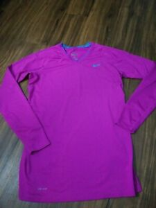 NIKE DRI FIT FITTED LONG SLEEVE SHIRT WOMEN'S SIZE LARGE PURPLE