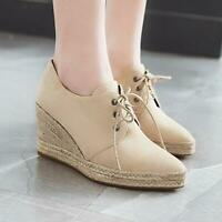 Womens Wedge Pointed Toe High Heels Shoes Lace Up Suede Casual Pumps Platform A1