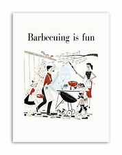 BARBECUING FUN BBQ OUTDOOR FOOD KITCHEN Poster Illustration Canvas art Prints
