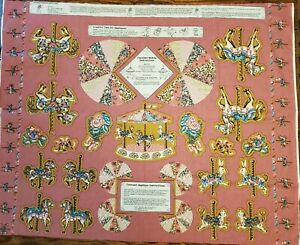 Vintage 1980's Carousel Horse Applique Fabric Panel Shirley Botsford Springs