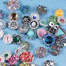 50pcs/lot Mixed Rhinestone styles 18mm Metal Snap Button Fit 20mm Snaps Jewelry