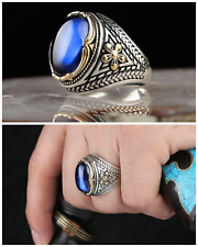 925 STERLING SILVER JEWELRY BLUE SAPPHIRE MEN'S RING