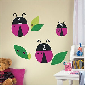 LADY BUGS Chalkboard wall stickers 65 decals leaves insect room decor bugs chalk