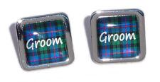 Blue Tartan Square Wedding Cufflinks - Groom, Best Man....