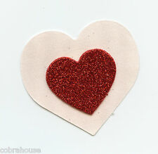 """LINGERIE NIPPLE COVER 3D Red Glitter Heart on 2 1/4"""" Nude Heart Pasties"""