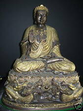 Bronze Buddha Sitting on Lotus  Surrounded by Dragons