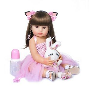 55CM babe doll reborn toddler girl doll in pink dress full body soft silicone