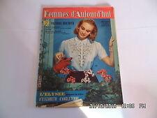 FEMMES D'AUJOURD'HUI AVEC PATRON N°621 28/03/1957 MODE TRICOT COUTURE    I33