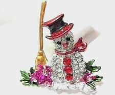 Pin W Enamel Colorful Flowers Beautiful Contemporary Snowman Scene Crystals
