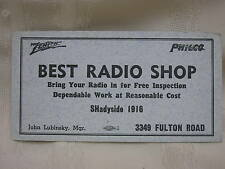 "Vintage Zenith & Philco Radio Shop Advertising Ink Blotter Cleveland Ohio 6"" X3"""