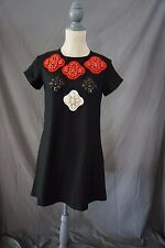 KARTA Shift Dress Sz. S BEAUTIFUL Black Red White $338