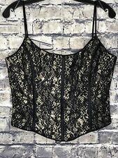 JESSICA McCLINTOCK GUNNE SAX Occasion Gold Black Lace Overlay Sequin Cami Size 9