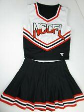 """VARSITY Cheerleader Uniform Adult 34"""" Top 27"""" Fully Pleated Skirt Orange Black"""