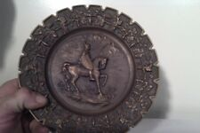 Antique brass vintage plate, knight on horse, wall art collectable