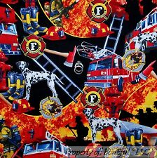 BonEful Fabric FQ Cotton Quilt Black Red Fire Fighter Truck Boots Hat Badge VTG
