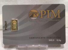 0,5g (Gramm) PIM Goldbarren, Feingoldbarren, Bankengold, Investitionsgold, 0,,5g