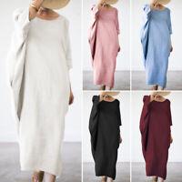 ZANZEA Womens Cotton O-Neck Plain Long Dress Ladies Loose Tunic Holiday Dresses