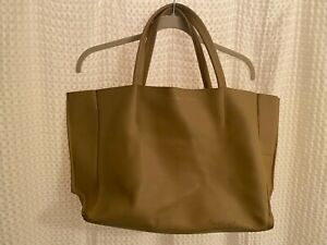 Ampersand As Apostrophe Sideways Tote Bag w/ Removable Pouch Camel Brown Leather