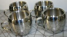 4x TRAMONTINA STAINLESS DOUBLE WALL INSULATED ESPRESSO/DEMITASSE CUPS, BRAZIL