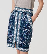 Ann Taylor LOFT Pencil Skirt Blue Black White Straight Size 2 Cotton Spandex NWT