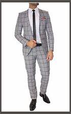 FC plus traje Set de Cuadros Entallado DOBLE RANURA Camisa Corbata Gris 46