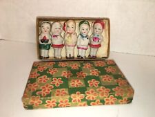 5 Vintage Bisque Japan Frozen Charlotte Penny Style Figure Dolls Original Box