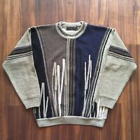VTG 90s Sweater Colorful Cosby Crew Neck Mens Medium 80s Cable Knit Striped OG