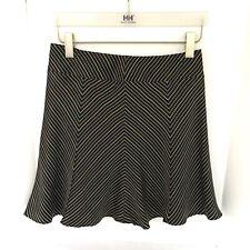 Laundry by Shelli Segal Silk Flared Mini Skirt Black w White Pinstripes Size 2